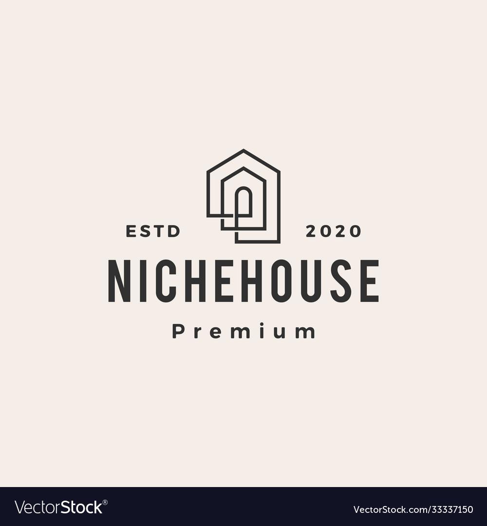 Niche house hipster vintage logo icon