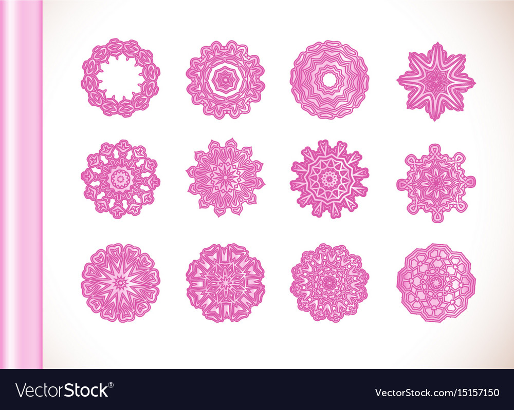 Ornamental Round Lace Pink Flower Vector Image On Vectorstock