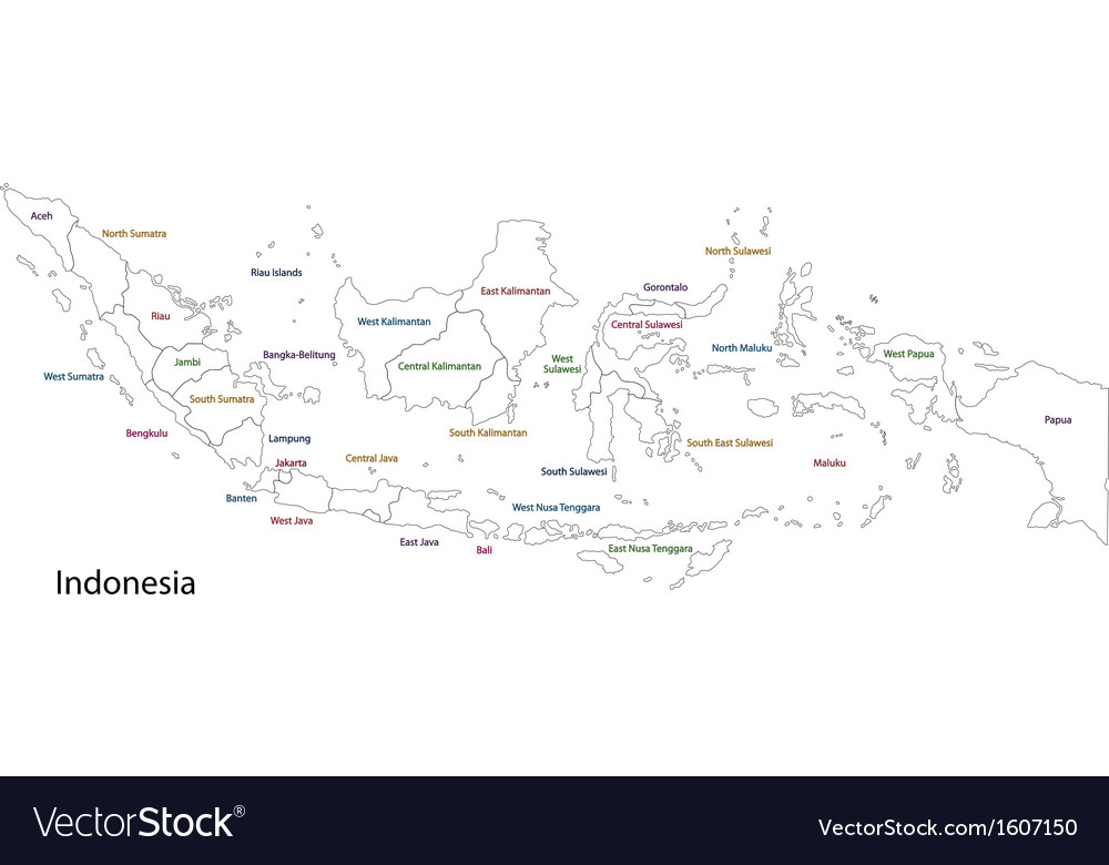 Outline Indonesia map vector image