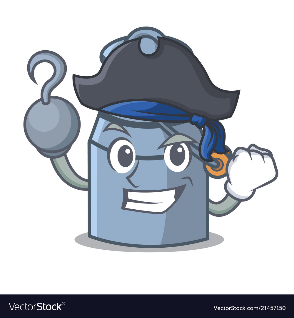 Pirate milk can character cartoon