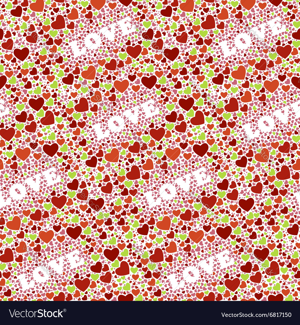 Seamless background with hearts and world Love