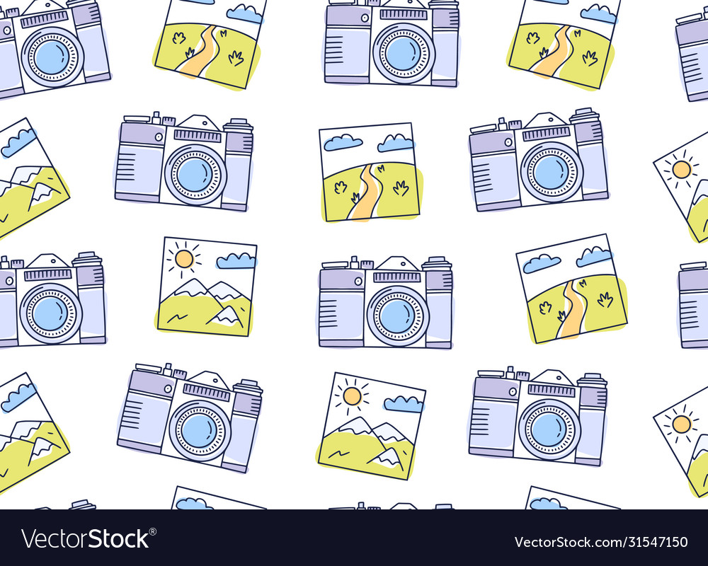 Seamless pattern with cameras and photos
