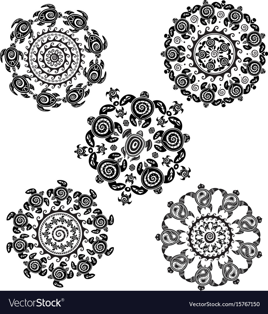 Set with round pattern from decorated turtles