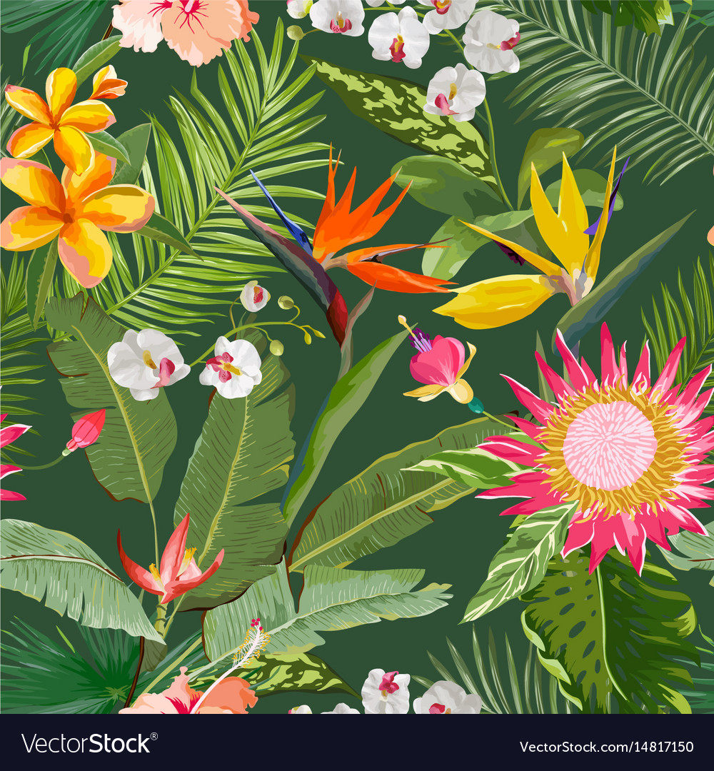 Tropical seamless floral summer pattern
