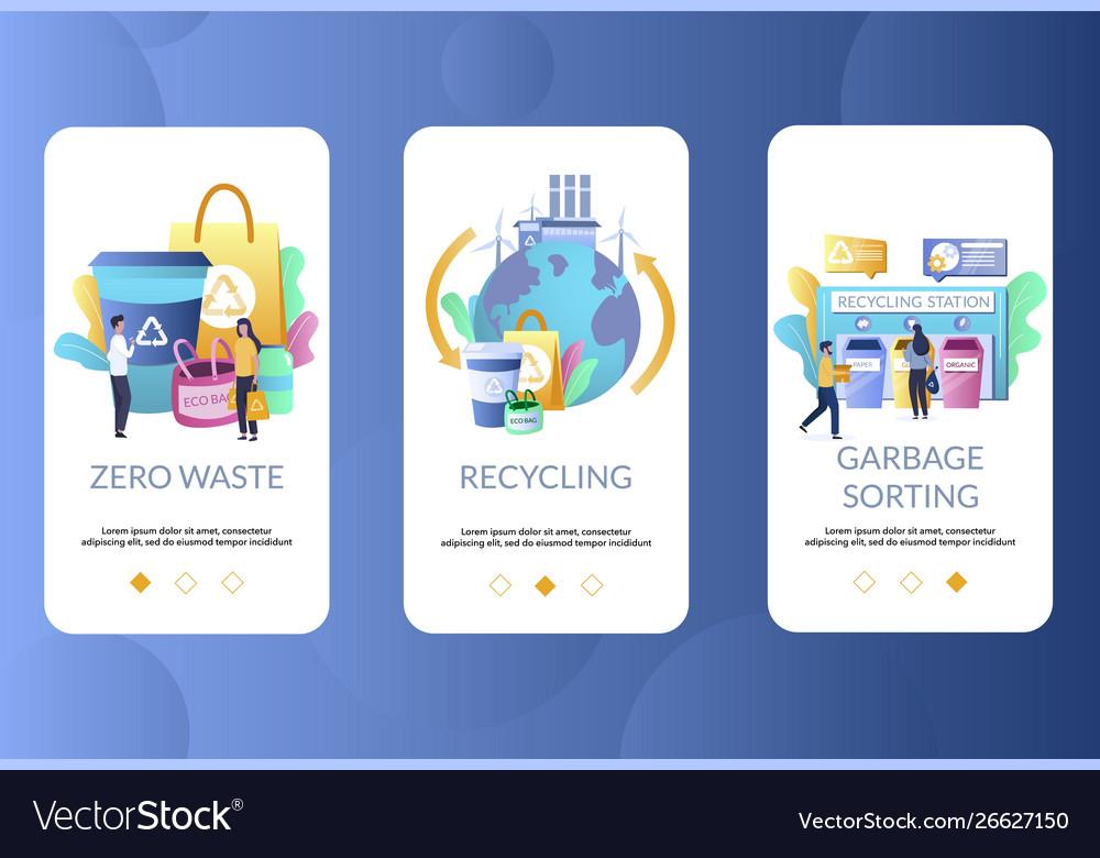 Zero waste mobile app onboarding screens