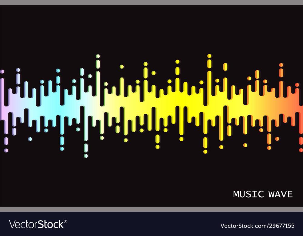 Audio colorful wave logo on black 3d rainbow