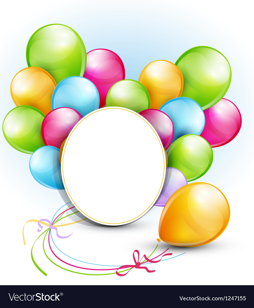 congratulation background with balloons and a roun