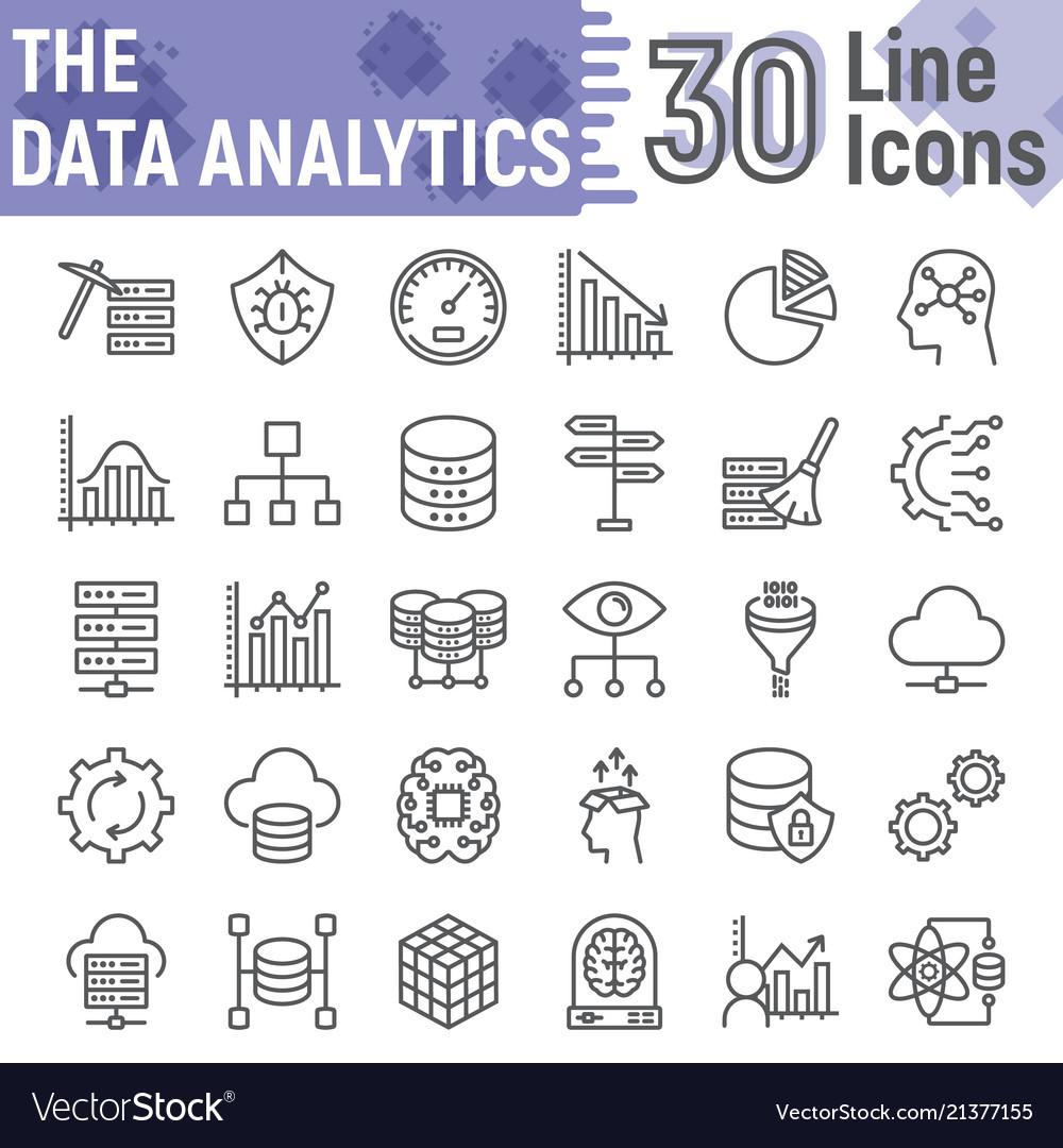 Data analytics line icon set database symbols