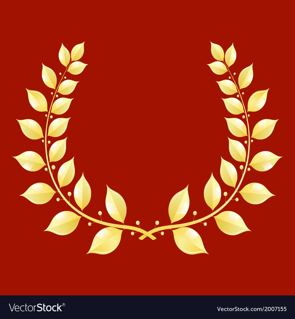 Gold laurel wreath on a red background