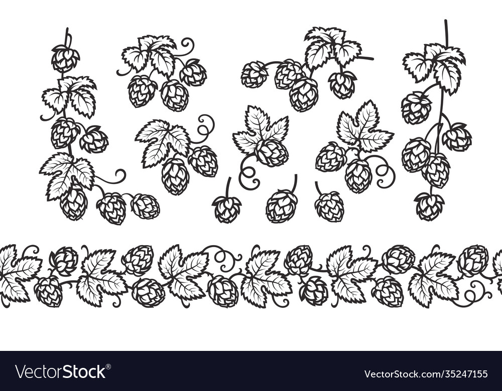 Hop branches with cones and leaves seamless border