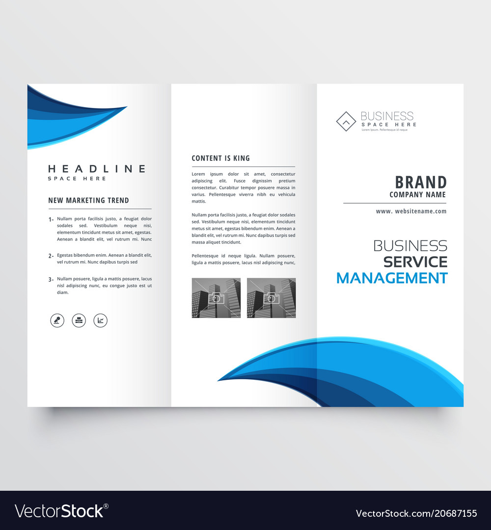 modern blue trifold business brochure layout vector image