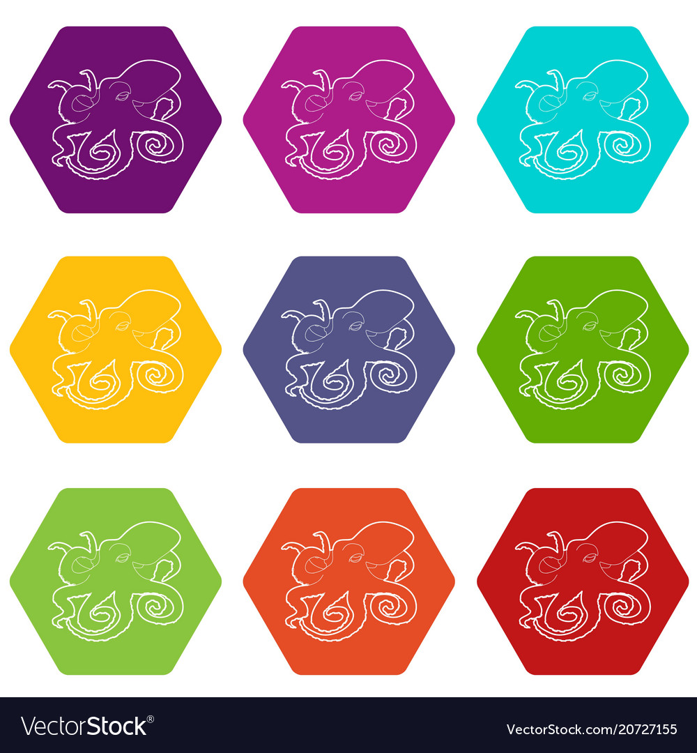 Octopus icons set 9 vector image
