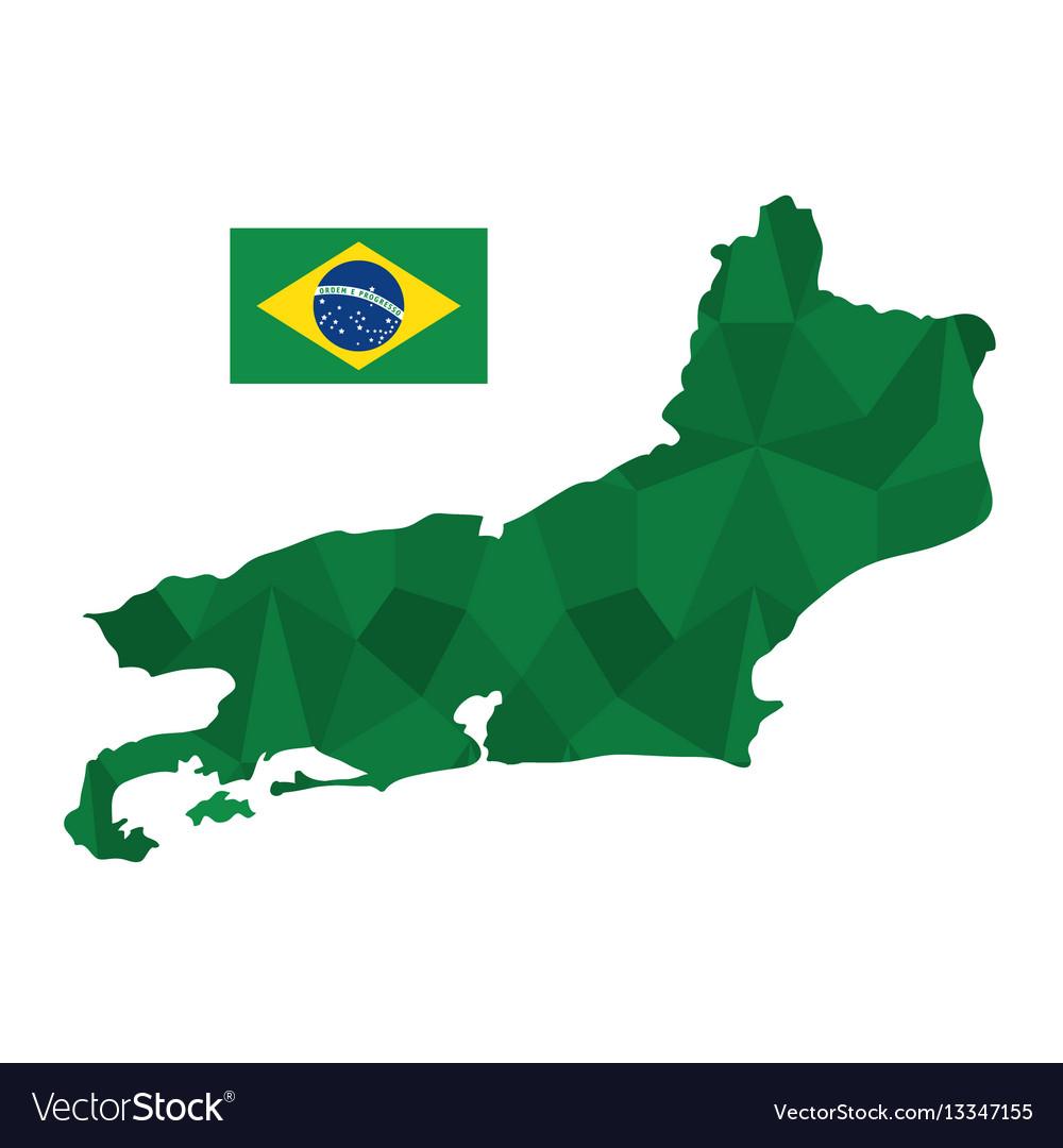 Rio de janeiro map and flag icon
