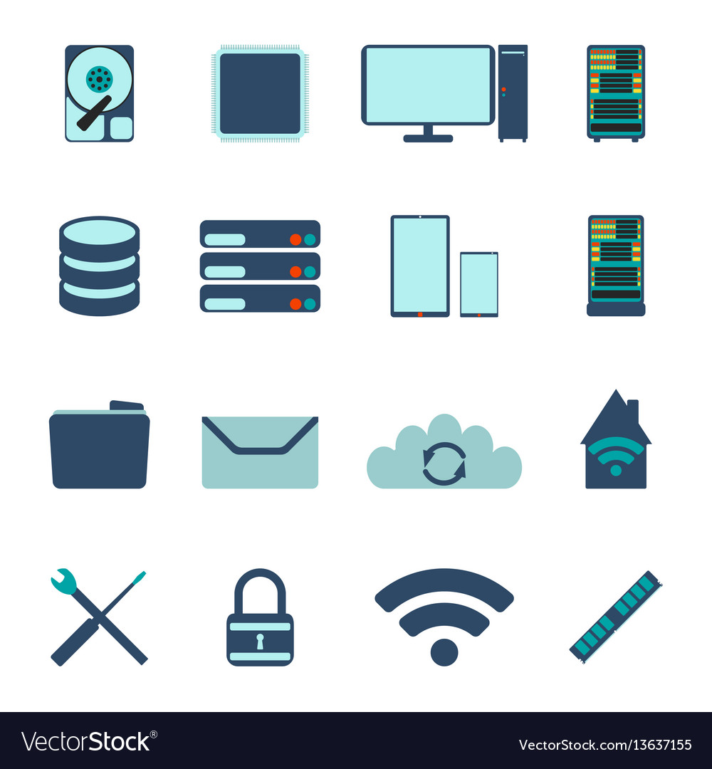 Set of computer and datebase icons