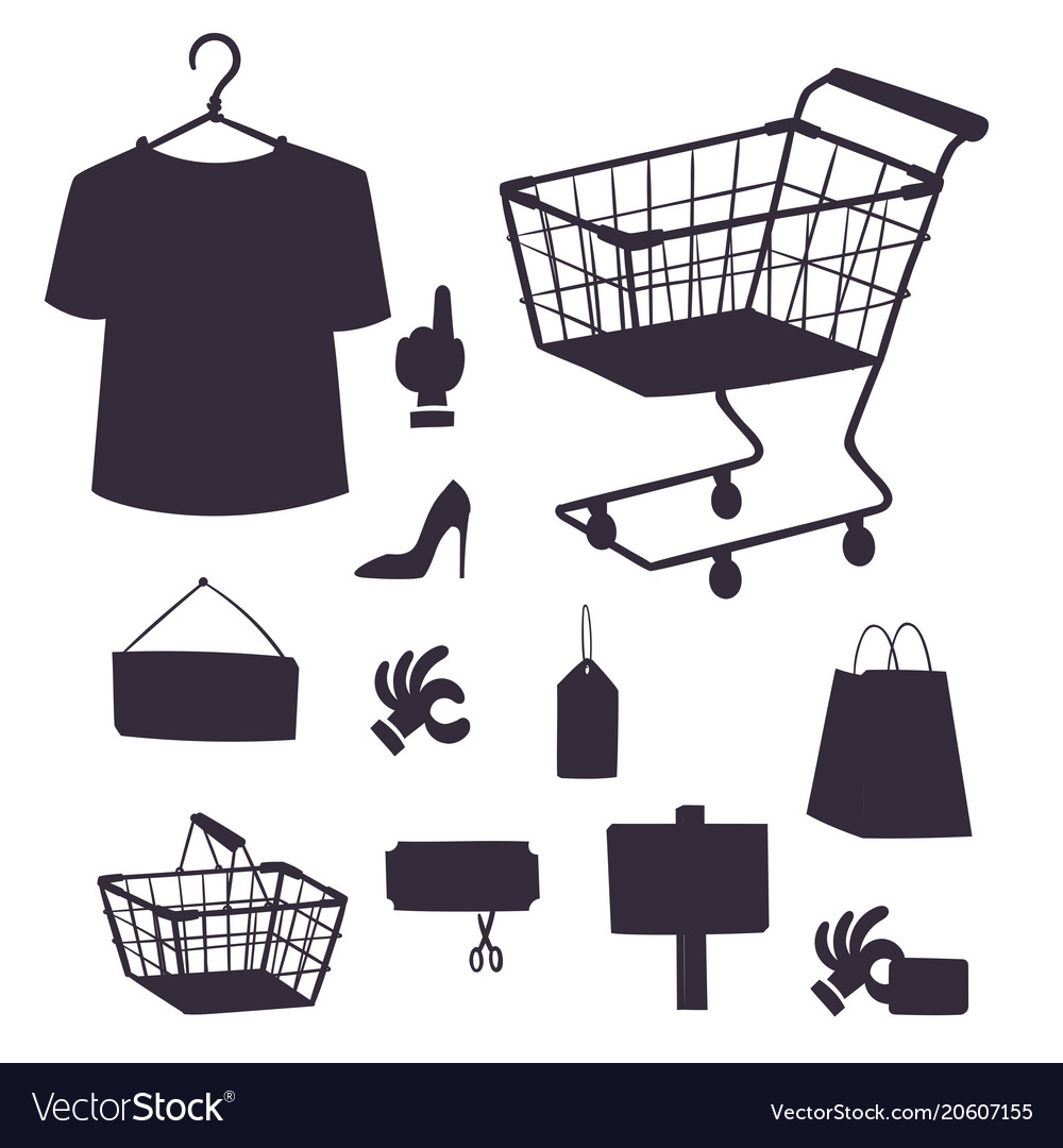 Shopping supermarket store shop silhouette vector image