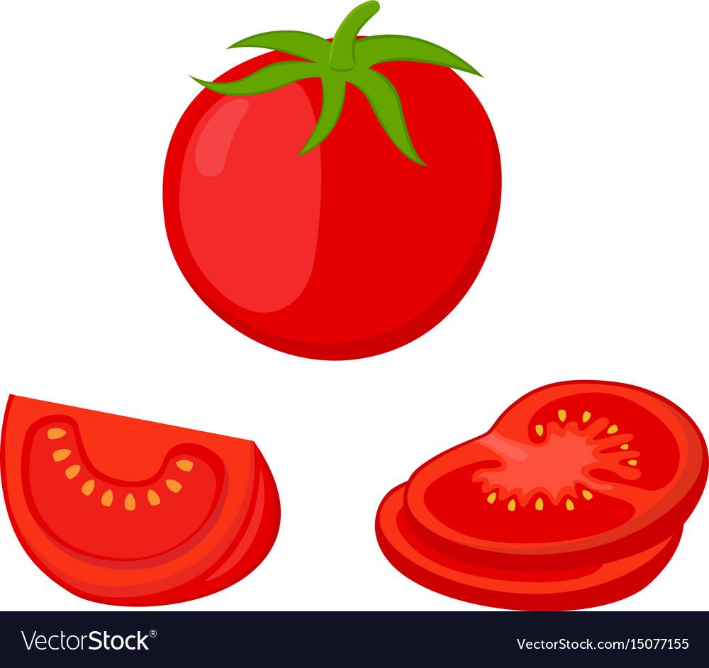 tomato slices red tomatoes cartoon flat style vector image rh vectorstock com cartoon tomato clip art cartoon tomato images