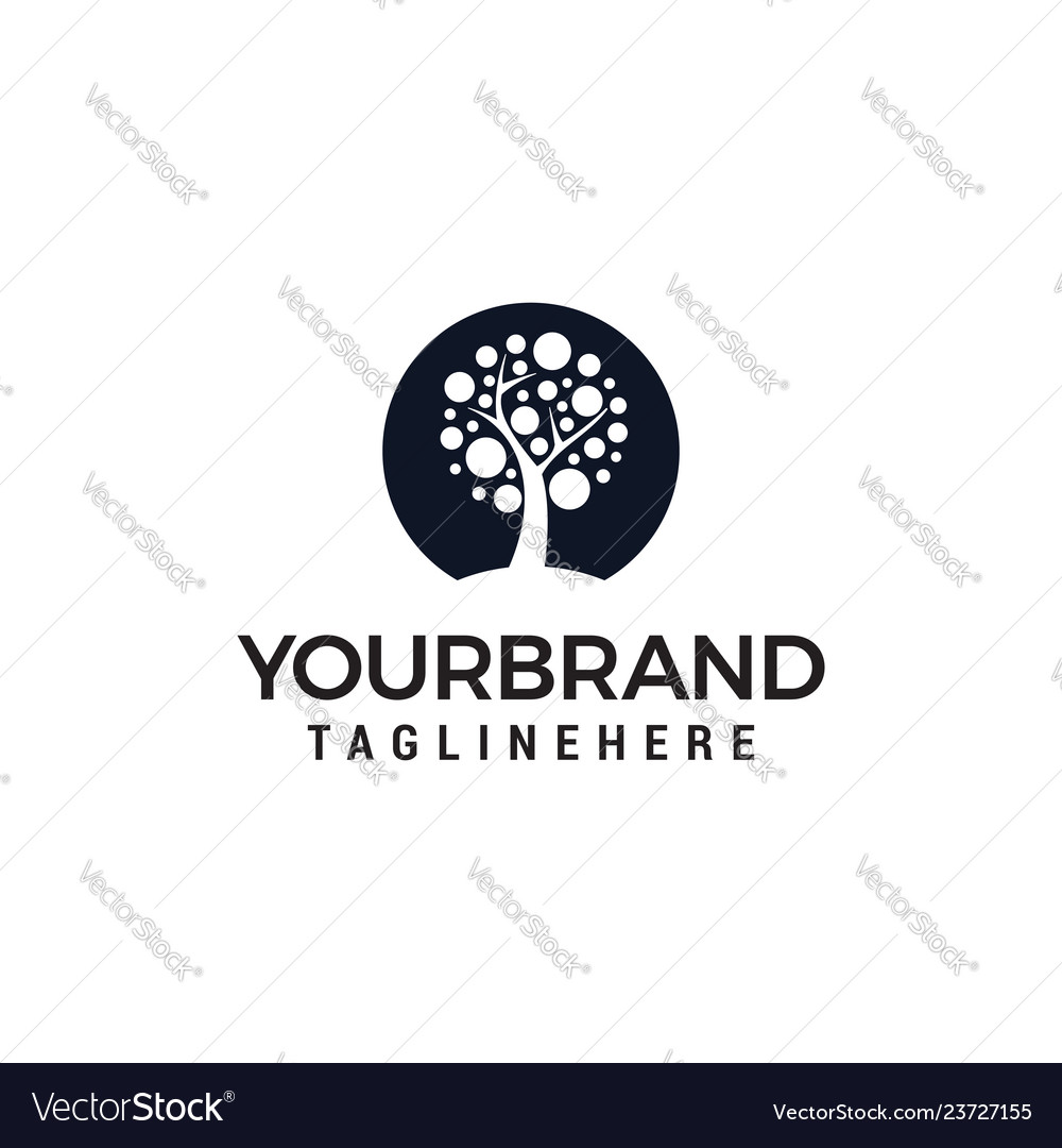 Tree circle logo design template