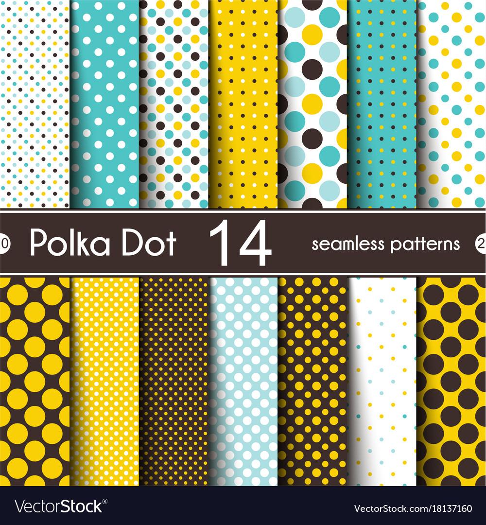 14 different round shape seamless patterns