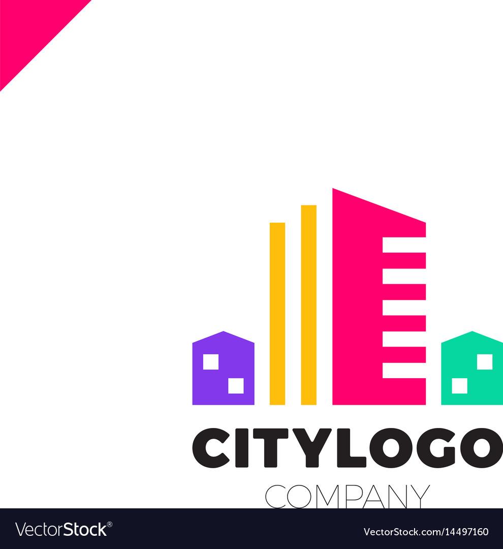 Abstract city building logo design concept symbol vector image