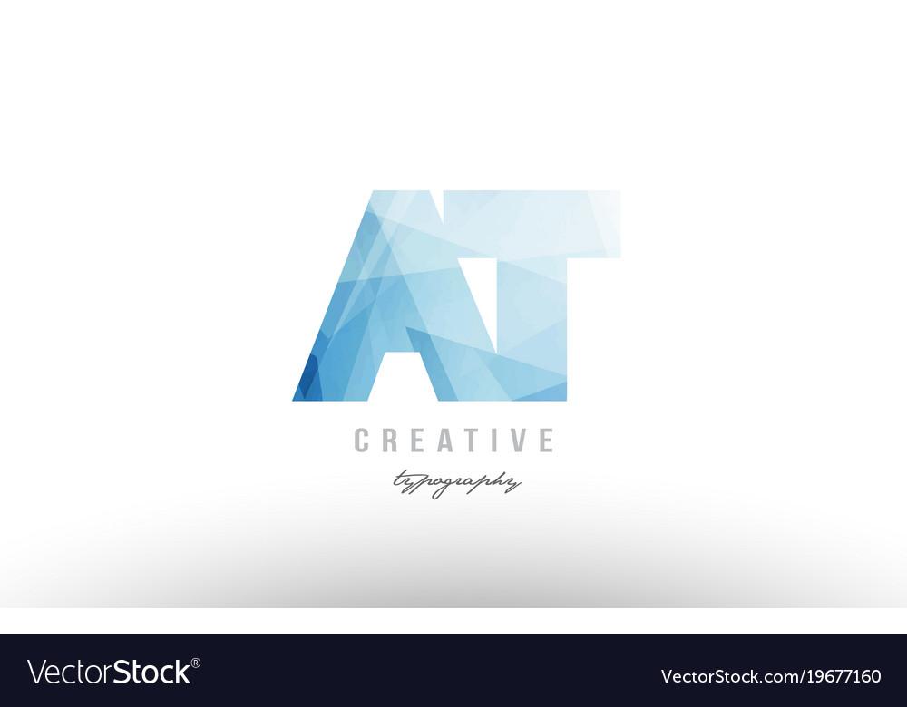 At a t blue polygonal alphabet letter logo icon