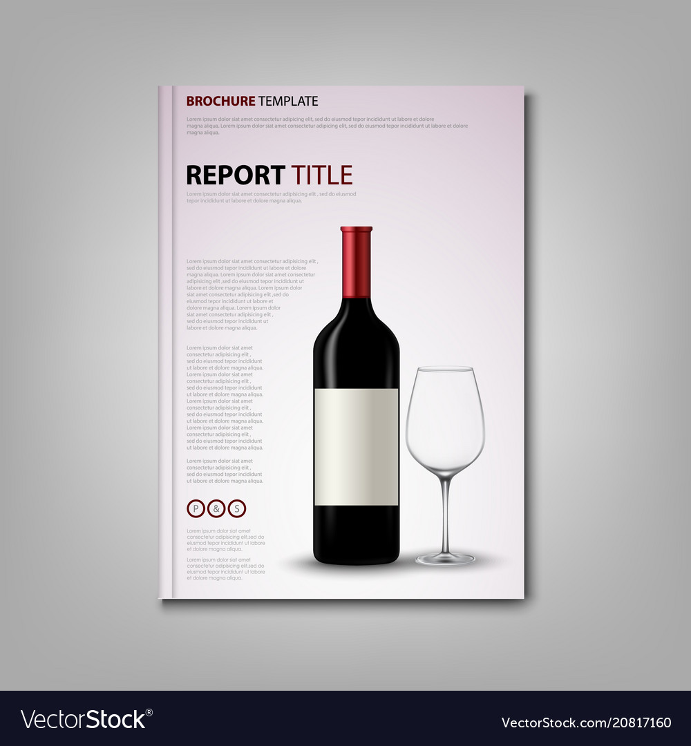 Brochures Book Or Flyer With Bottle Of Wine And Vector Image