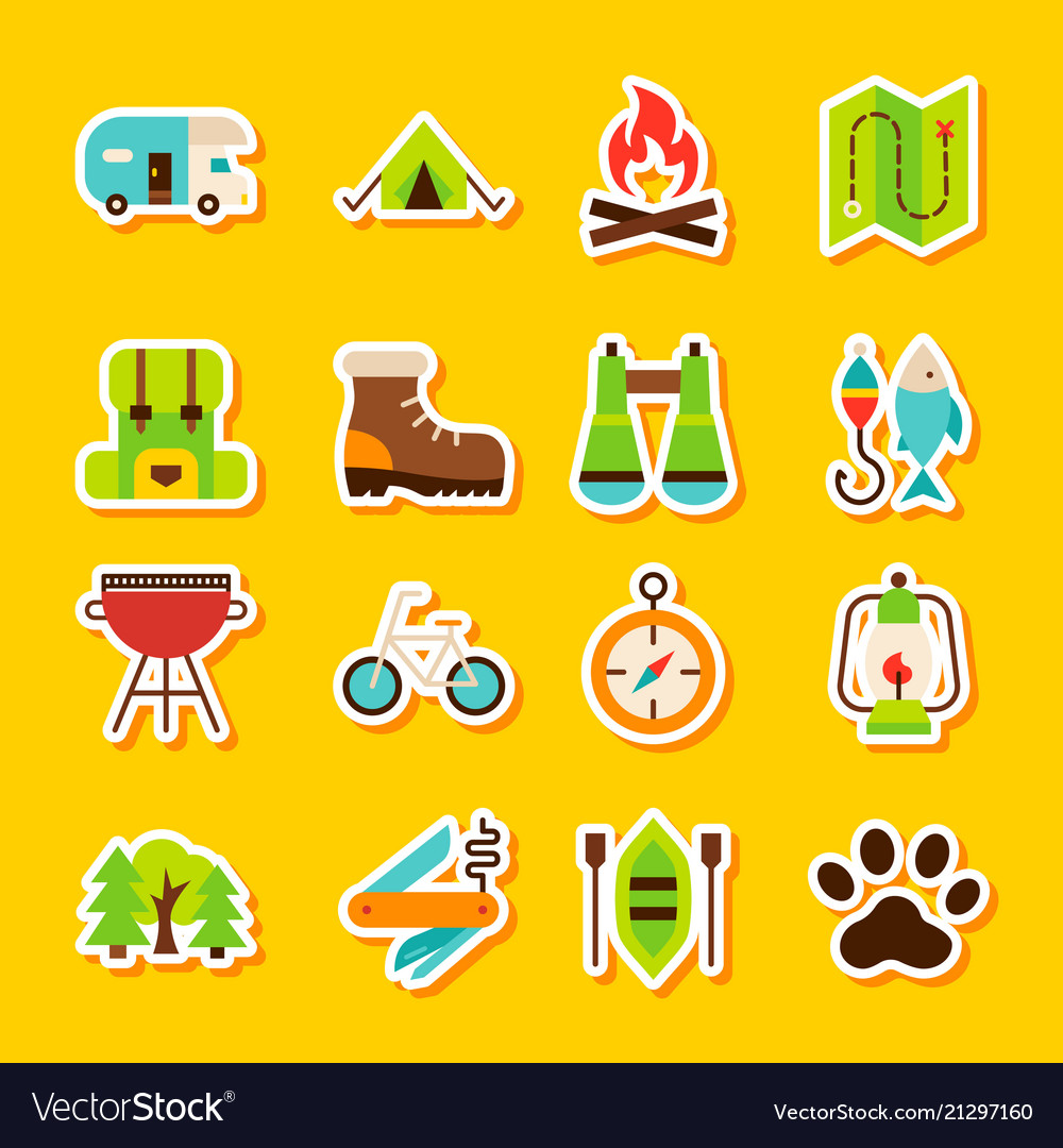 Camping hiking stickers