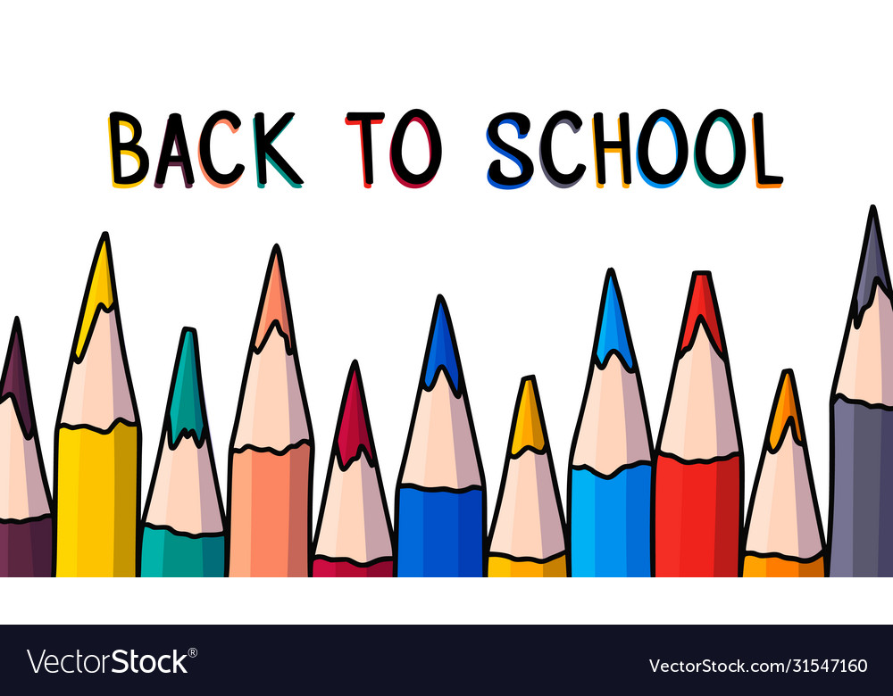 Doodle pencil banner back to school hand drawn
