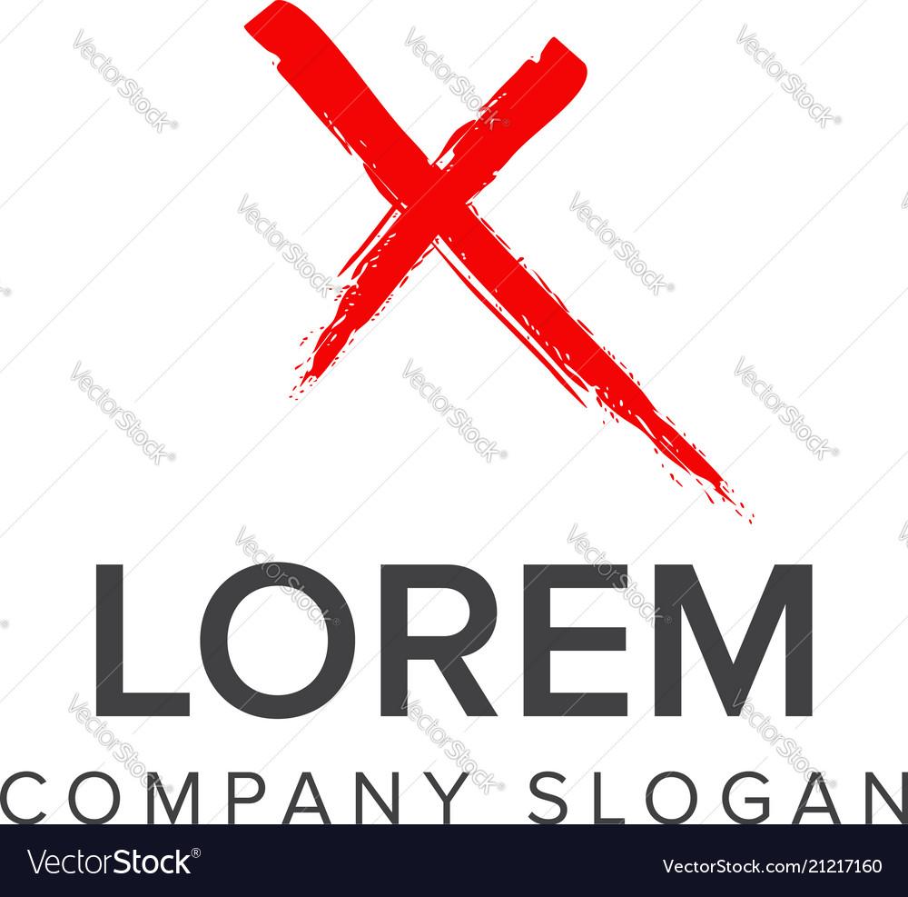 Letter x brush logo design concept template