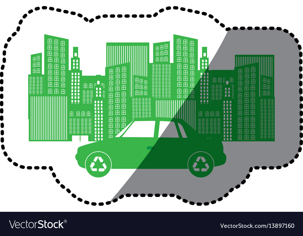 Monochrome background sticker with city buildings