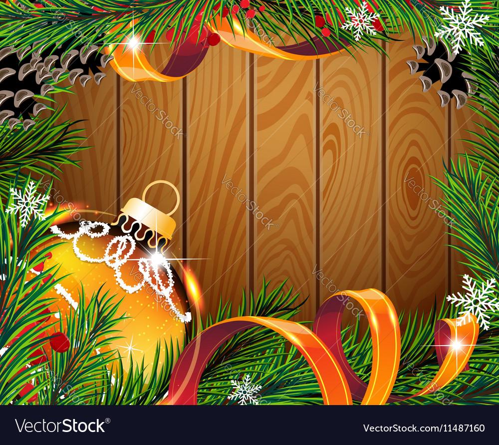 Orange Christmas ball on wooden board vector image