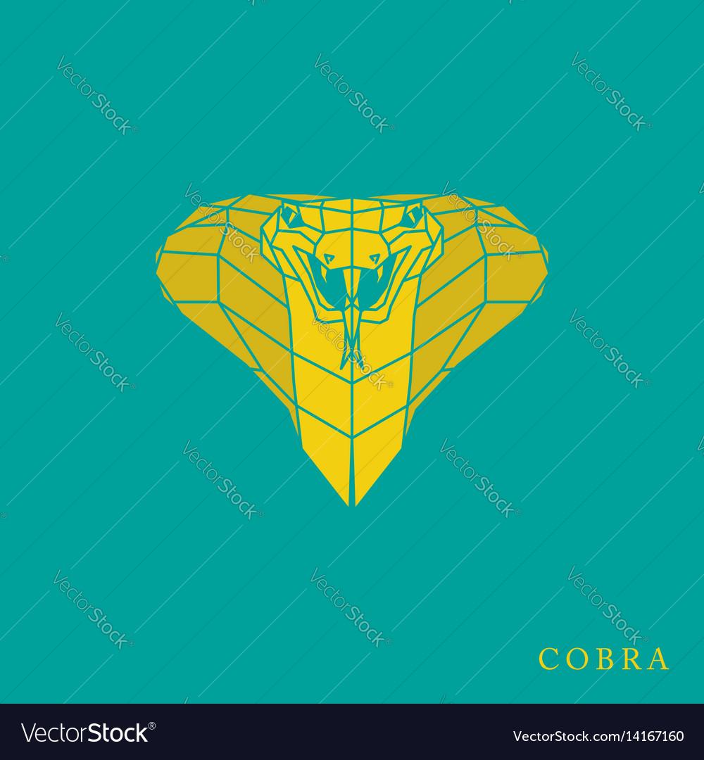 Polygonal yellow cobra icon