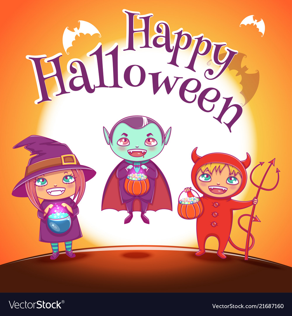 Poster with kids in costumes of witch vampire and