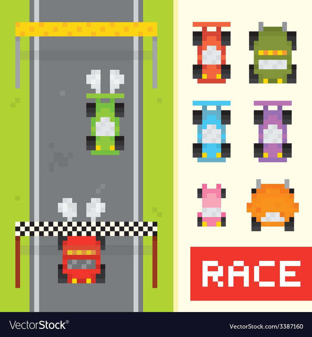 Race game objects in pixel art style