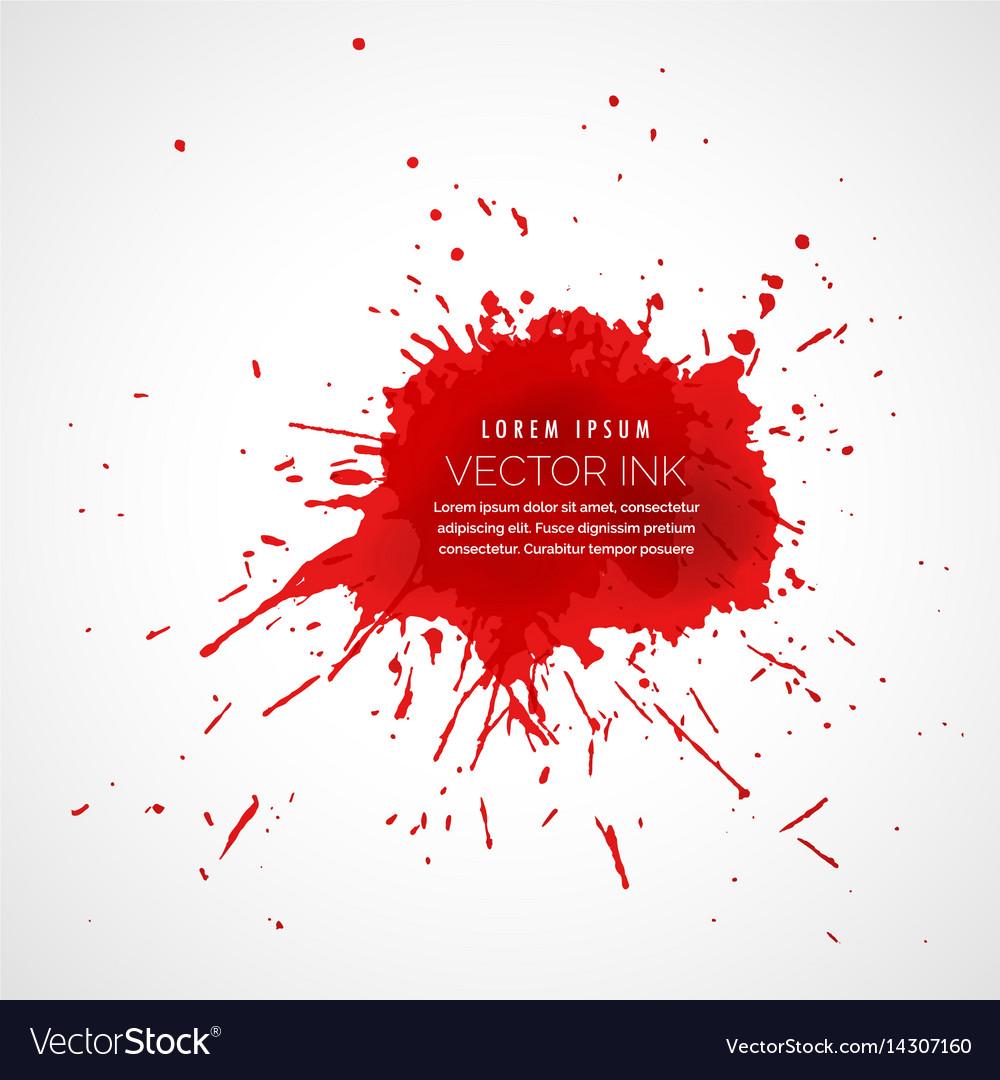 Red splatter ink drop effect vector image