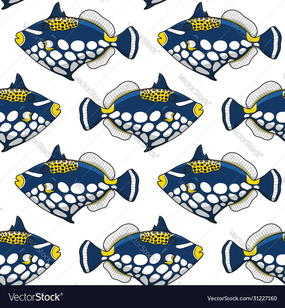 Seamless pattern with clown triggerfish fish