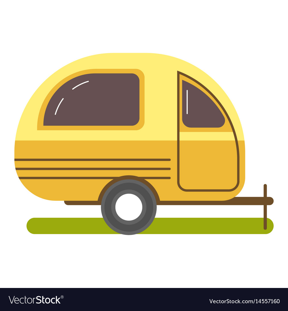 Travel trailer caravanning in yellow color