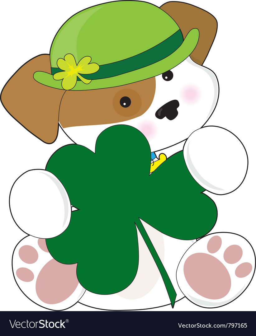 A cute puppy is wearing a green irish hat and is h