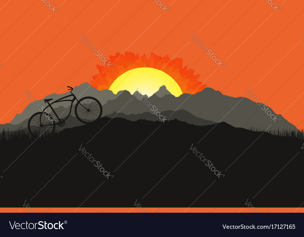 Bicycle silhouette on mountain nature landscape