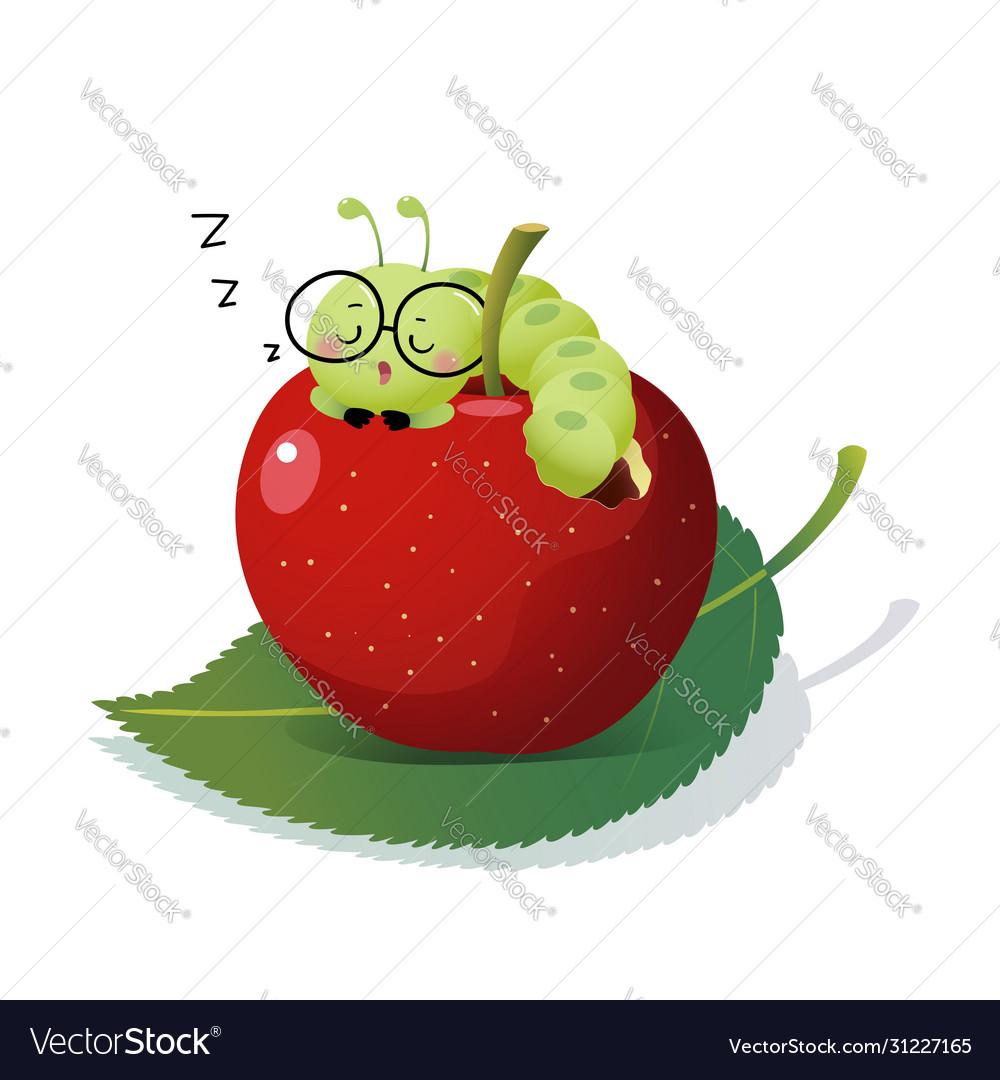 Cartoon caterpillar sleeping on an apple
