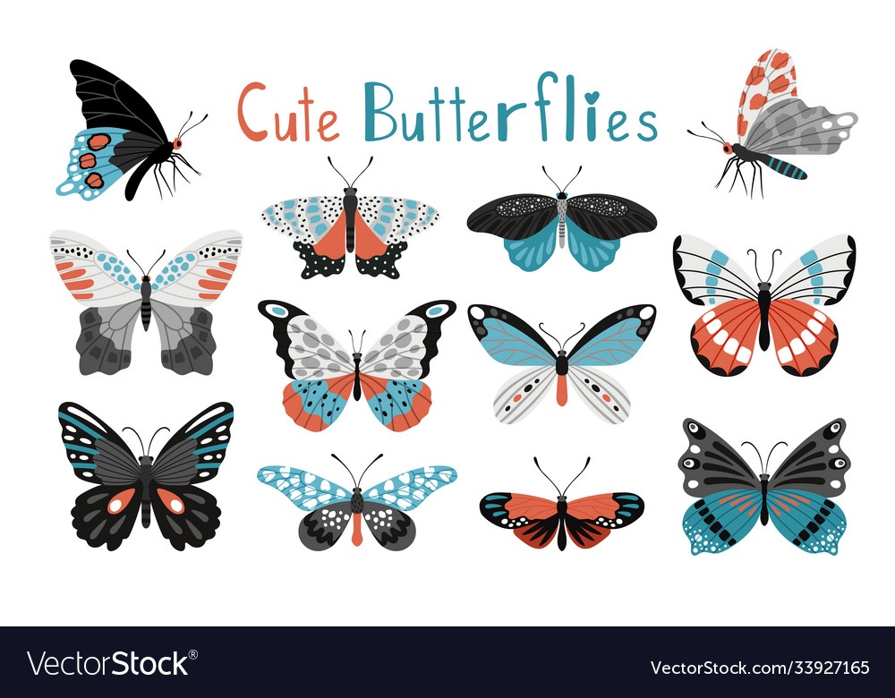 Colorful butterfly icon set