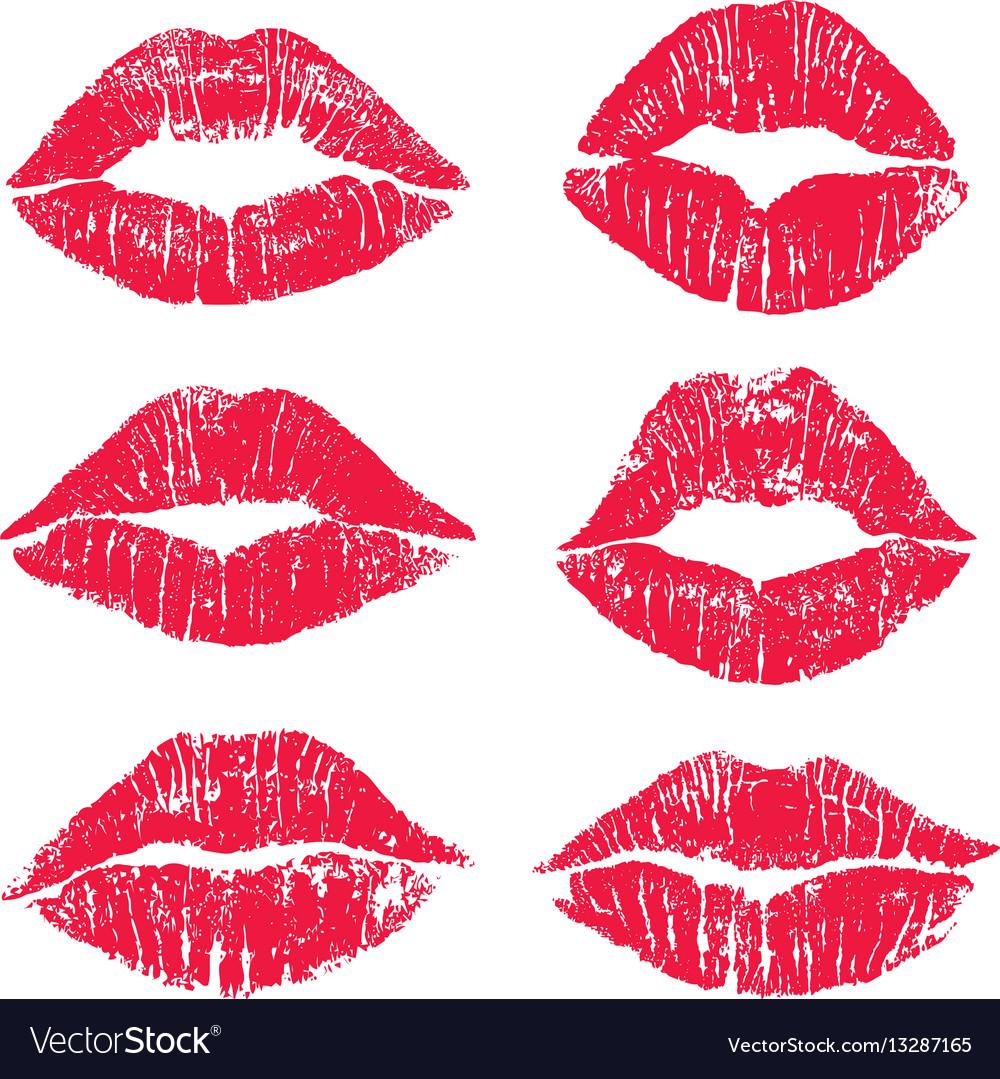 Female lips kiss print set