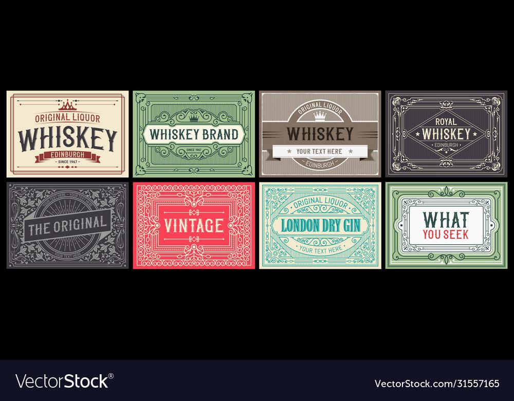 Mega set 8 vintage labels layered