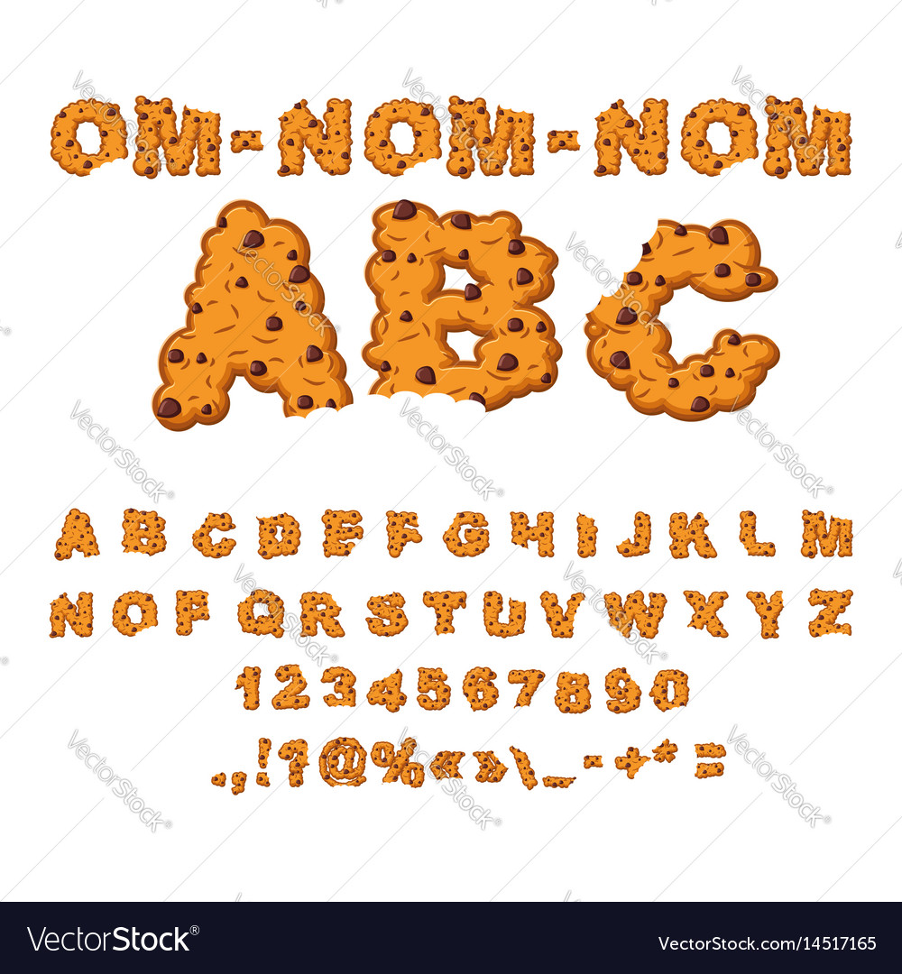 Om nom nom abc cookies font biscuits with