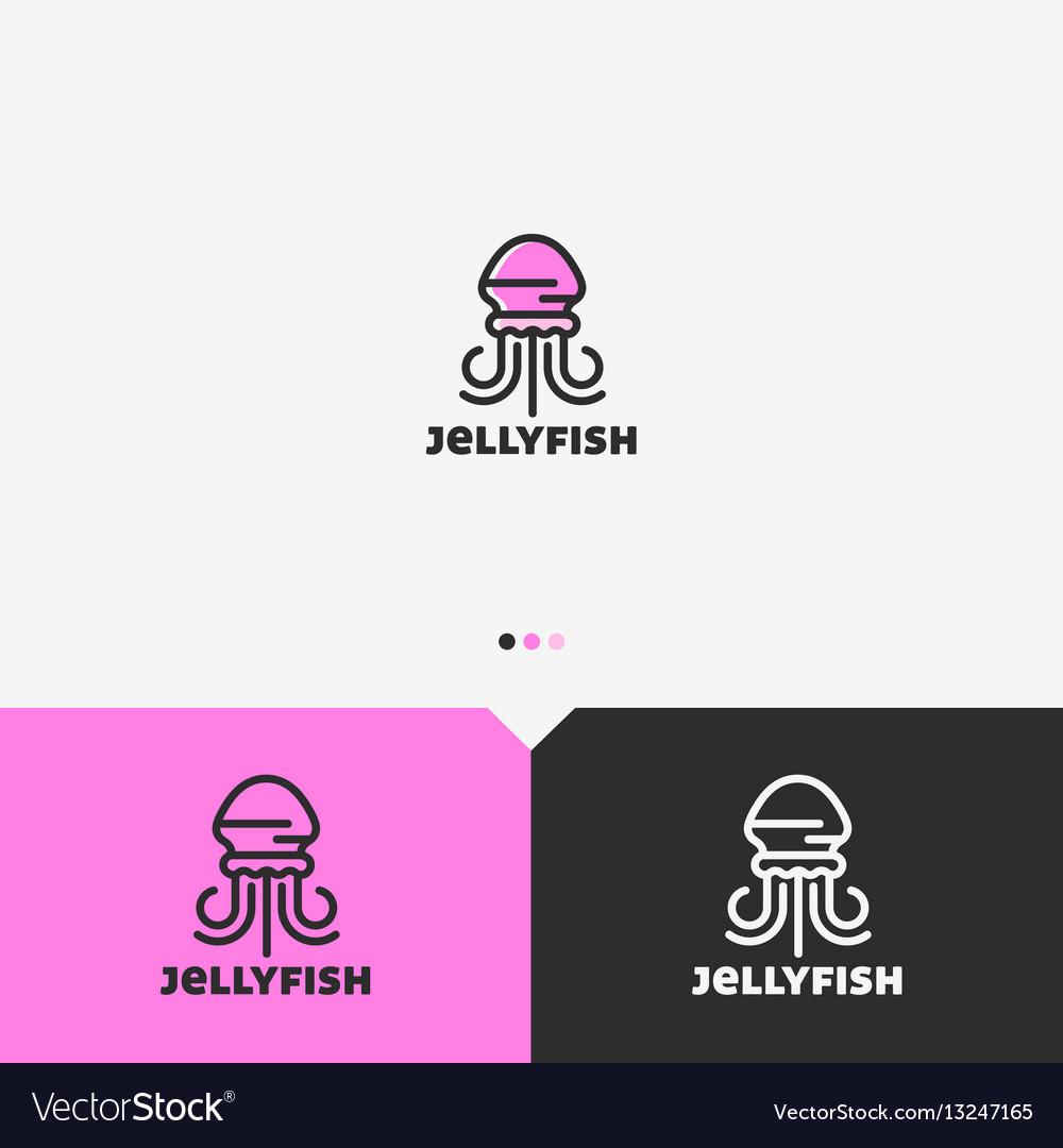 Pink jellyfish logo design template