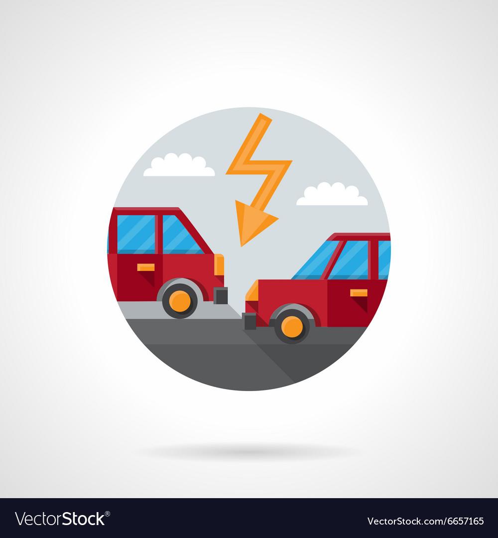 Round flat color car crash icon vector image