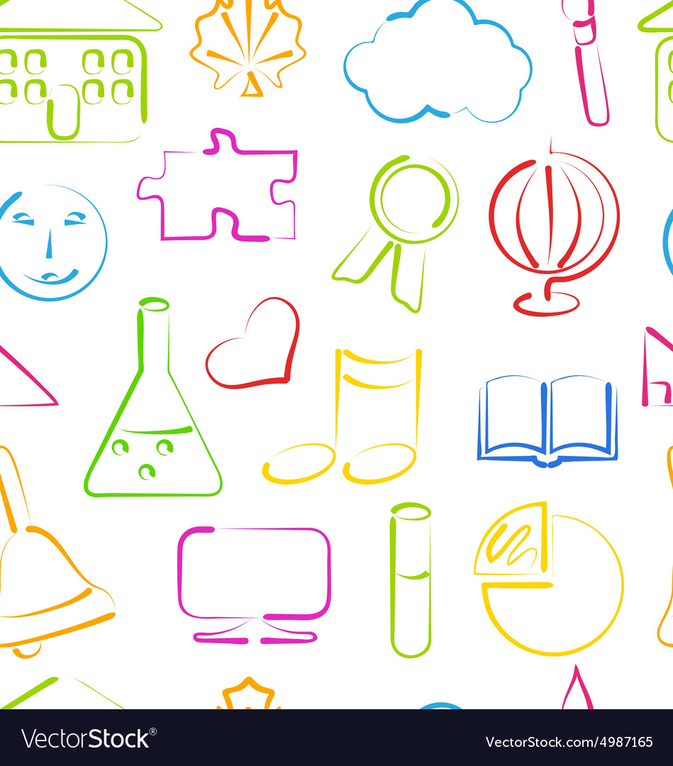 Seamless Wallpaper with Colorful School Objects