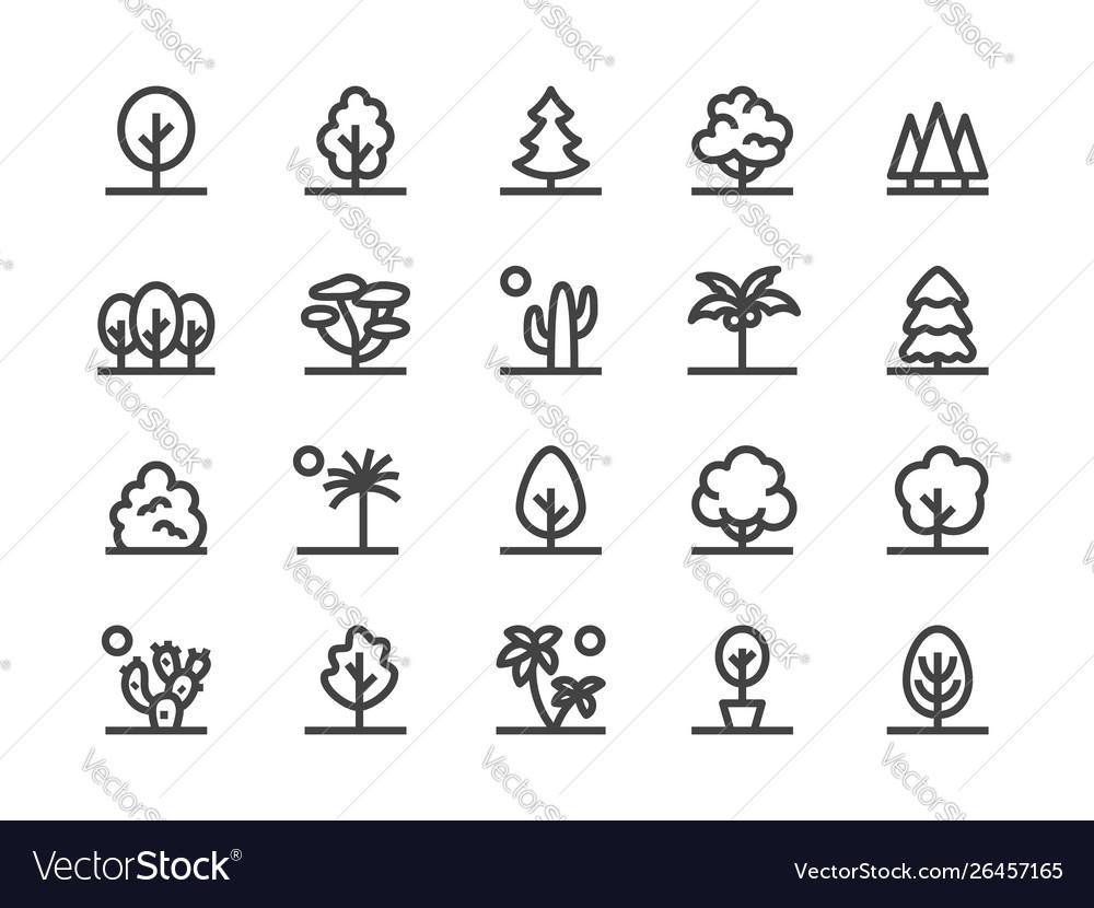 Trees plants line icon flat