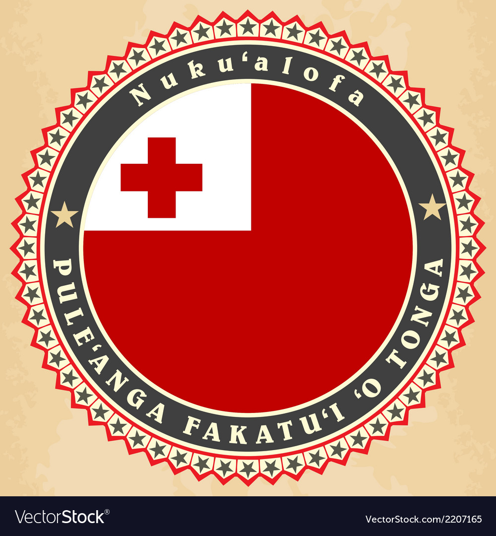 Vintage label cards of Kingdom of Tonga flag