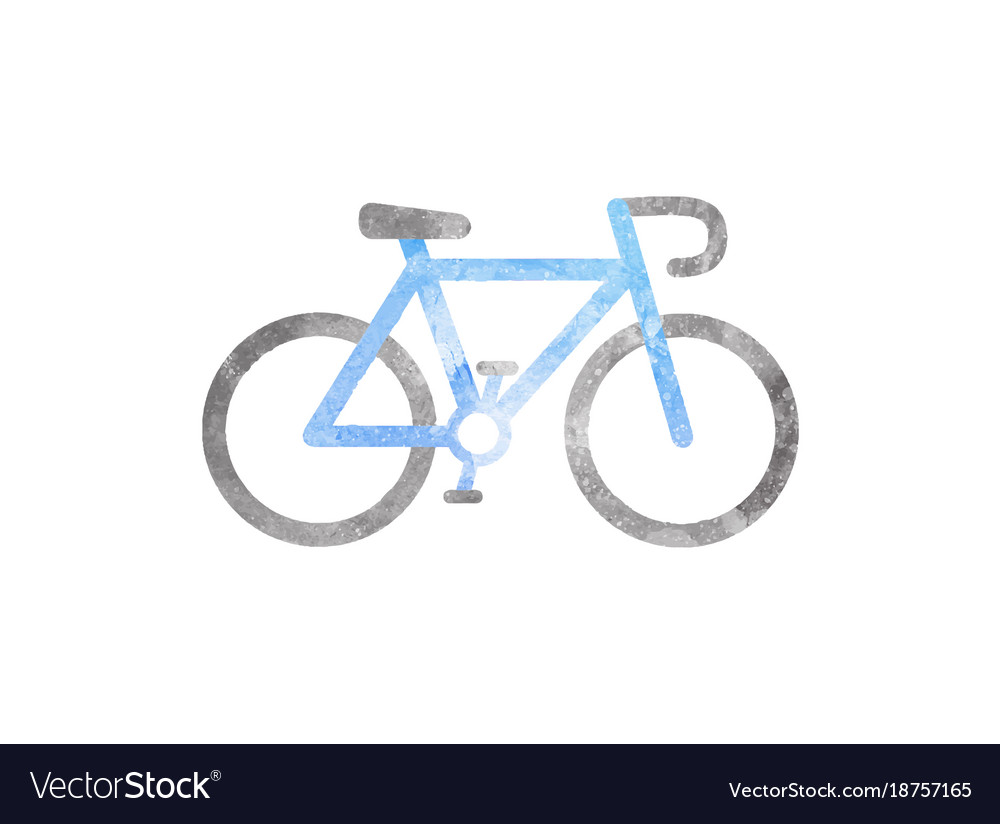Watercolor bicycle on white