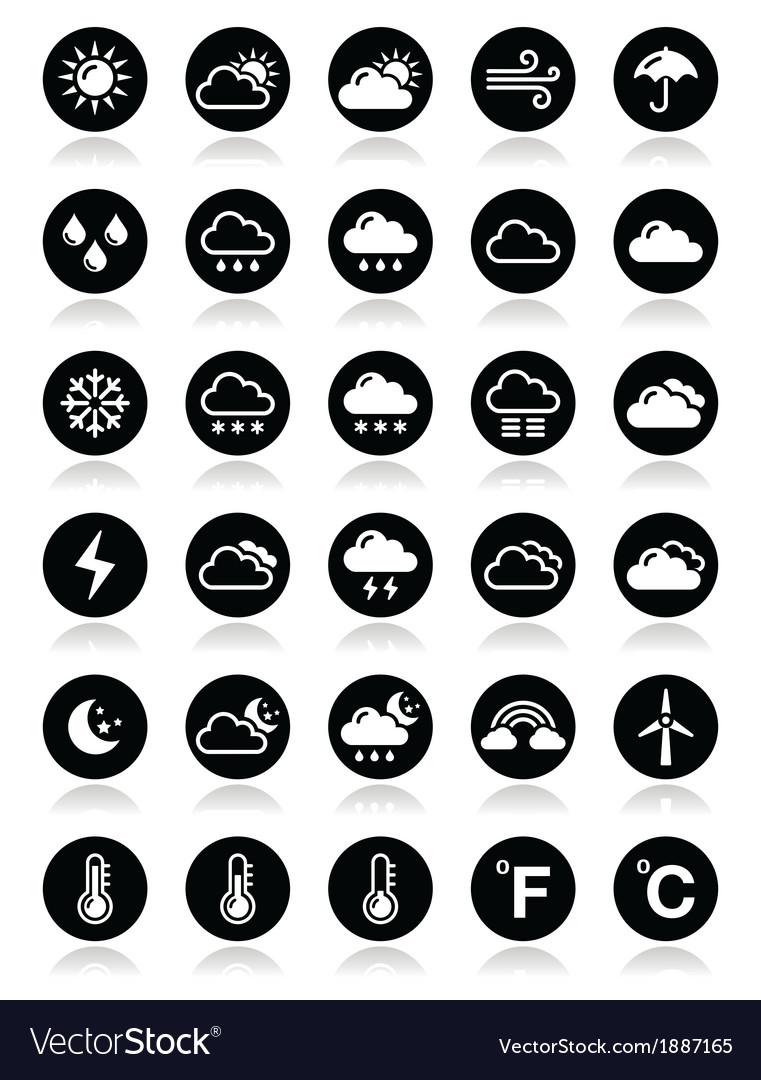 Weather round icons set